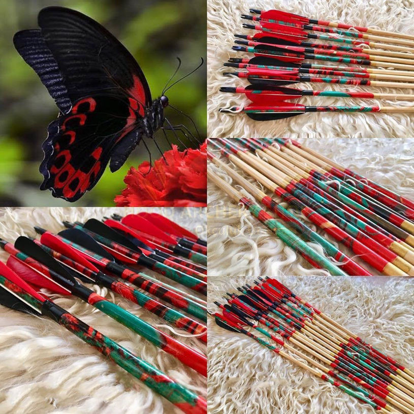 Resim Archery Arrow For Recurve Bow Medieval Traditional Longbow Hunting Bow Shoot with Red Black Turkey Feather Marbling Art