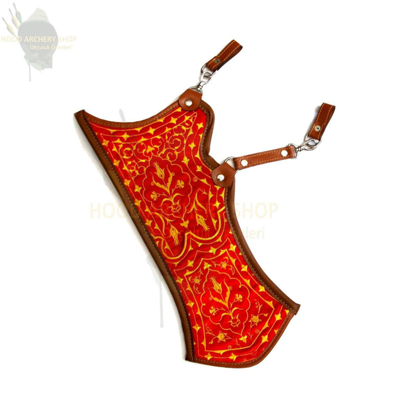 Resim Archery Quiver Turkish Traditional Horseback Archery Hip Quiver Fabric Tirkes Motifs Knight Belt Quiver, Medieval Fantasy Red&Yellow Color