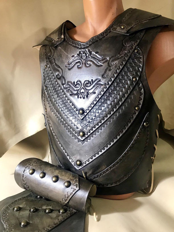 Picture of Leather Warrior Armor Belt Bracers Set Costume Medieval Warrior Cosplay Armor for Ottoman Turkish Warrior Black Motif Full Set