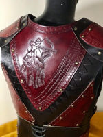 Picture of Leather Warrior Armor Belt Bracers Set Costume Clared Red Mounted Archery Motif Ottoman Turkish Warrior Armor
