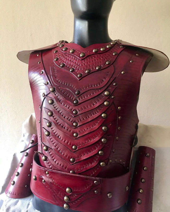 Picture of Leather Warrior Armor Belt Bracers Set Costume Claret Red Ottoman Turkish Warrior Armor