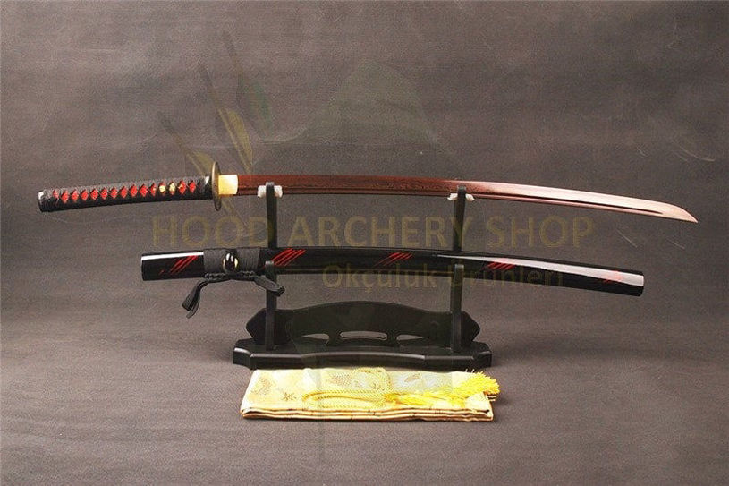 Resim Japanese Red Katana Damascus Steel Shirasaya Samurai Sword Sharp Blade New Brand Supply 40.6inches