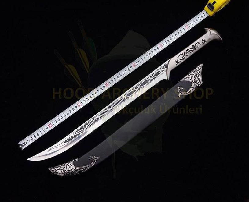 Resim Lord Of The Rings The Hobbit Elven King Sword Of Thranduil Scabbard & Wood Display 26.9inches Cosplay RUNES