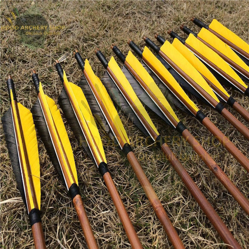 Picture of Medieval Bamboo Traditional Wooden Hunting Archery Arrow For Recurve Longbow Bow Shoot with Yellow Black Turkey Feathers Hunger Games