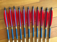 Picture of Medieval Pine Traditional Ottoman Hunting Archery Arrow For Recurve Longbow Bow Shoot with Red Turkey Feather Blue Shaft