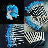 Picture of Wooden Archery Arrow For Recurve Longbow Bow Medieval Traditional Ottoman Hunting Shoot with Blue White Turkey Feather