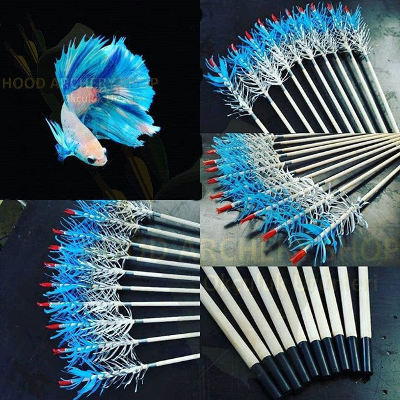 Resim Wooden Archery Arrow For Recurve Longbow Bow Medieval Traditional Ottoman Hunting Shoot with Blue White Turkey Feather