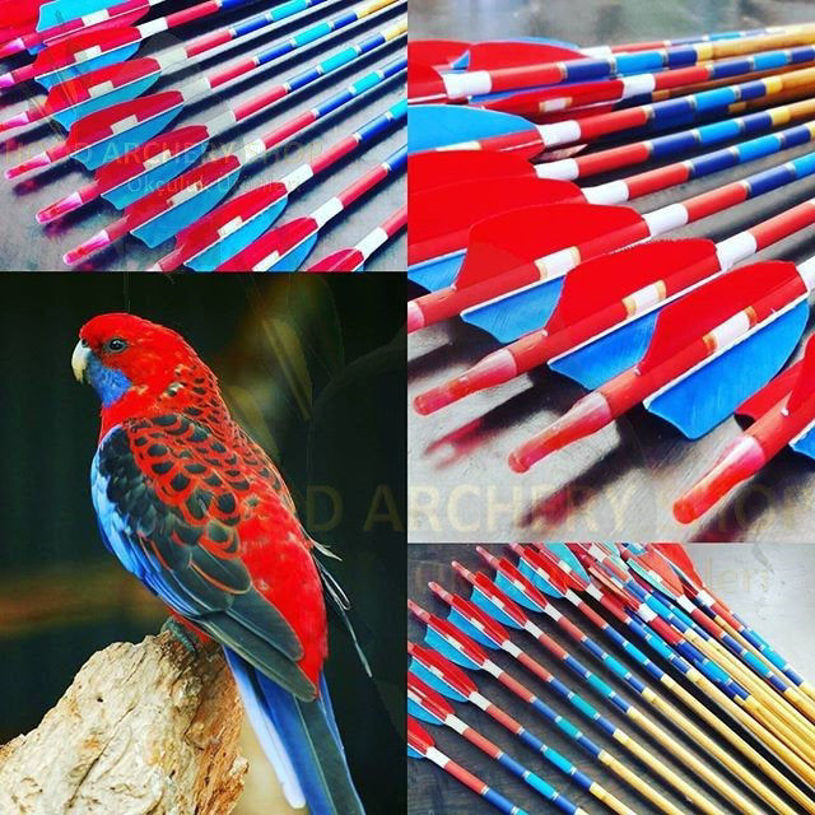 Resim Wooden Archery Arrow For Recurve Longbow Bow Medieval Traditional Ottoman Hunting Shoot with Red Blue Turkey Feather