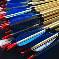 Picture of Medieval Traditional Archery Arrow For Recurve Bow Longbow Hunting Bow Shoot with Blue Turkey Feather
