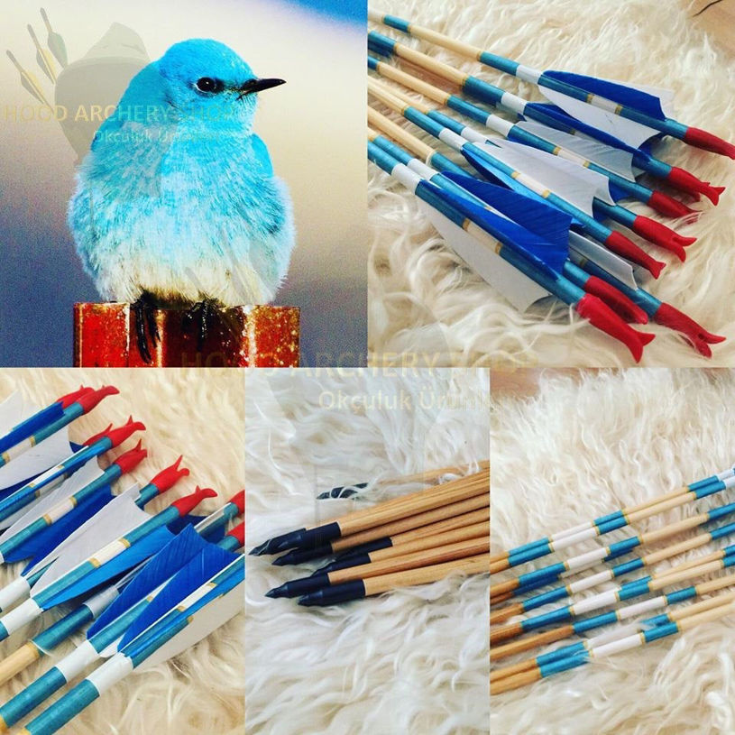 Resim Medieval Traditional Archery Arrow For Recurve Bow Longbow Hunting Bow Shoot with Blue White Turkey Feather