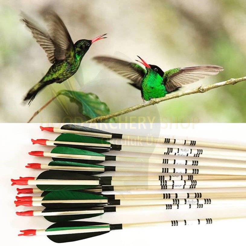 Picture of Medieval Traditional Archery Arrow For Recurve Bow Longbow Hunting Bow Shoot with Green Black Turkey Feather