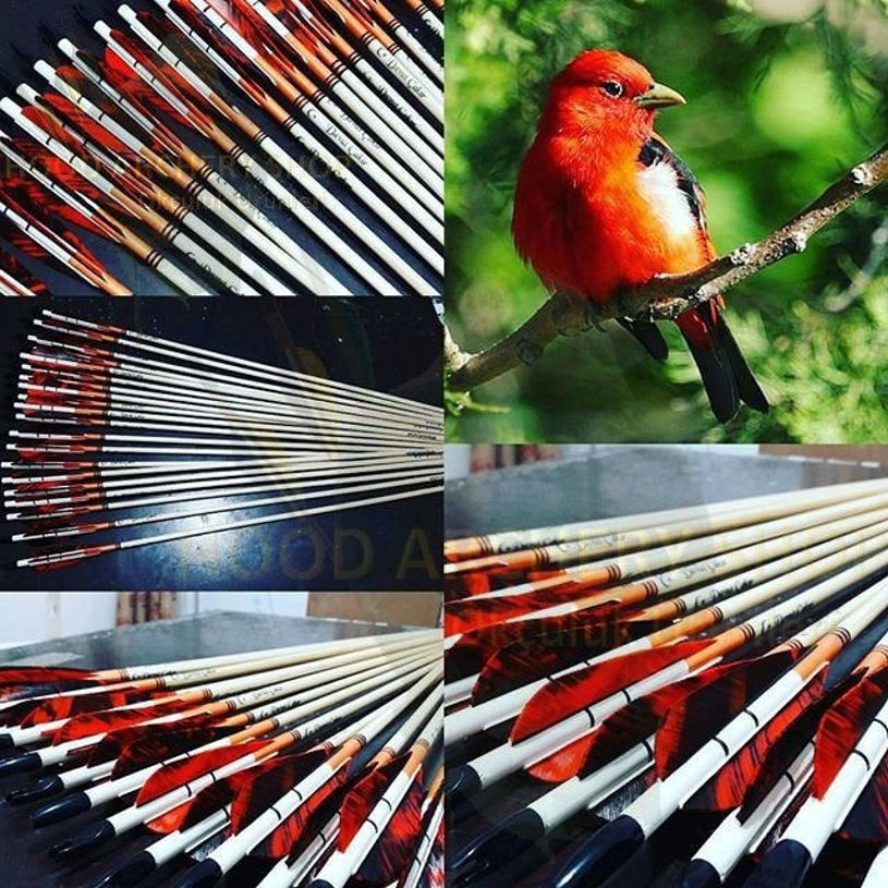 Resim Wooden Archery Arrow For Recurve Longbow Bow Medieval Traditional Ottoman Hunting Shoot with Orange Black Turkey Feather