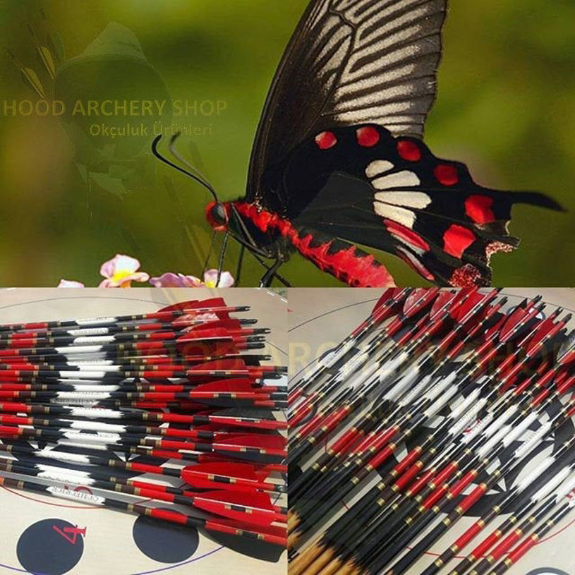 Picture of Wooden Archery Arrow For Recurve Longbow Bow Medieval Traditional Ottoman Hunting Shoot with Red Black Turkey Feather