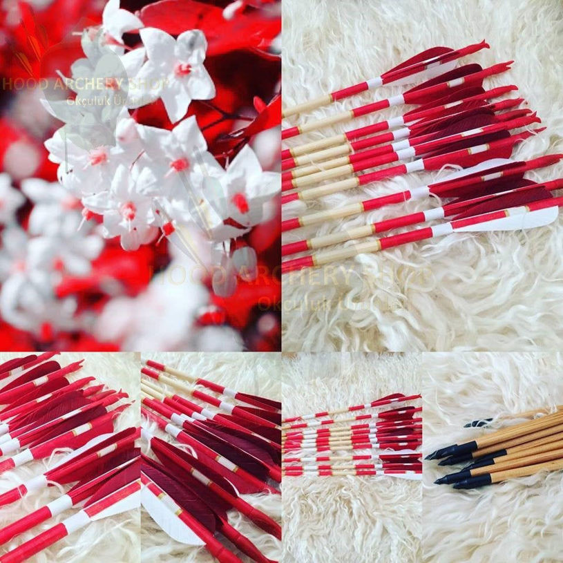 Resim Wooden Archery Arrow For Recurve Longbow Bow Medieval Traditional Ottoman Hunting Shoot with Red White Turkey Feather