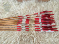 Wooden Archery Arrow For Recurve Longbow Bow Medieval Traditional Ottoman Hunting Shoot with Red White Turkey Feather. ürün görseli