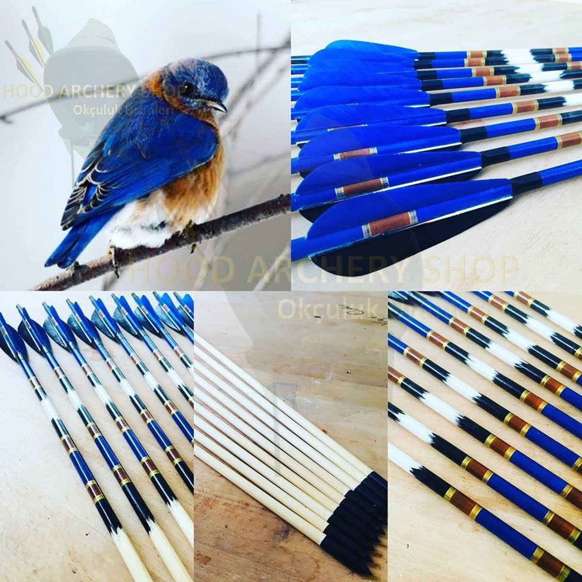 Medieval Traditional Ottoman Hunting Archery Arrow For Recurve Longbow Bow Shoot with Painted Brown Detail Blue Black Turkey Feather. ürün görseli