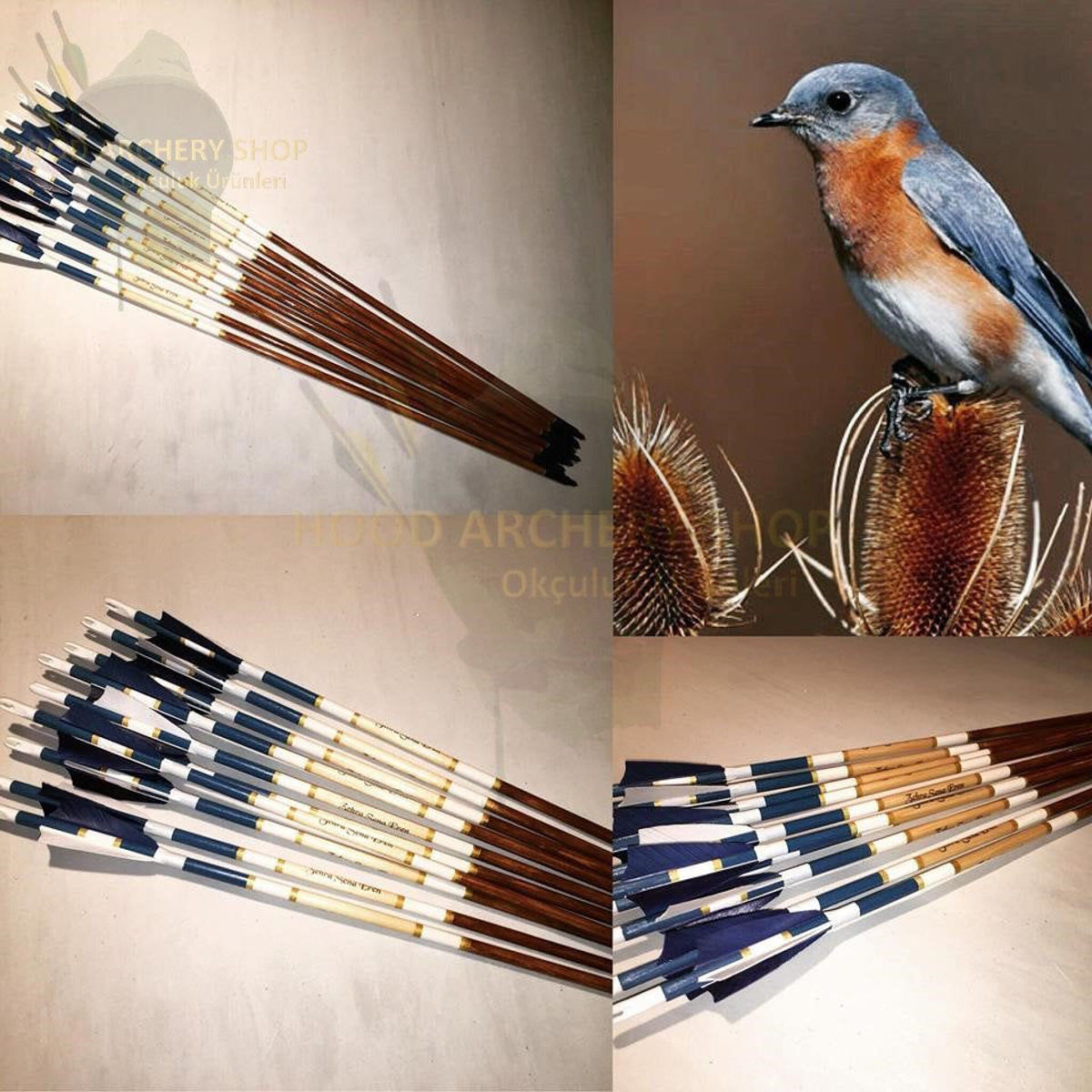 Picture of Wooden Archery Arrow For Recurve Longbow Bow Shoot with Blue White Turkey Feather Medieval Traditional Ottoman Hunting Archery