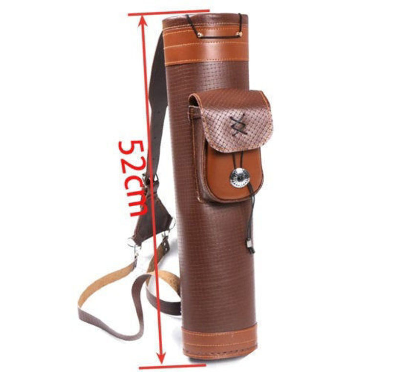 Picture of Medieval Traditional Recurve Bow Archery Shoulder Back Quiver Bow Genuine Leather Arrow Holder Bag Hunting Archery Tackle Gear