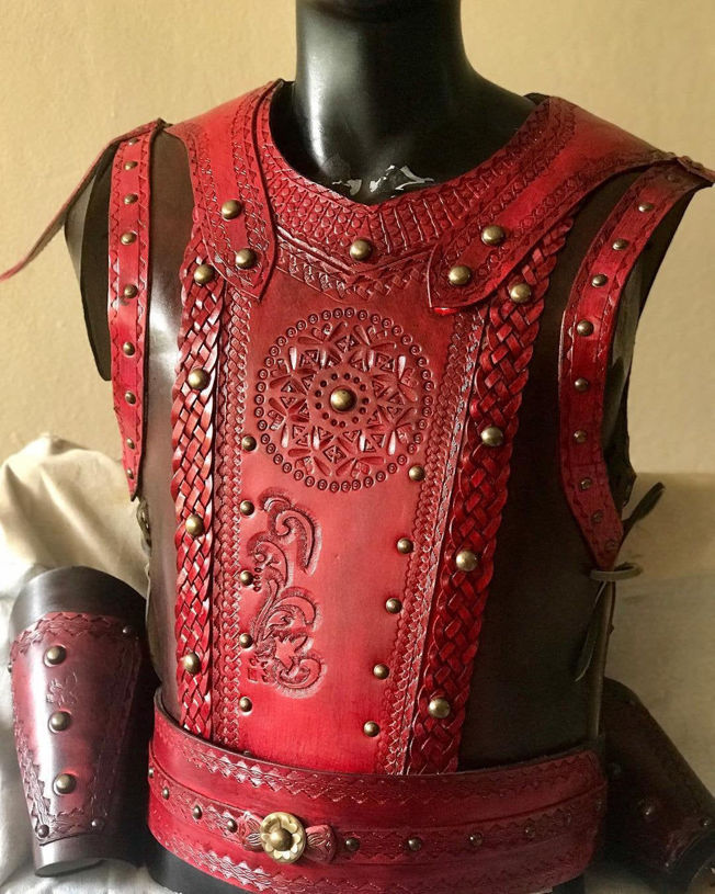 Picture of Leather Warrior Armor Belt Bracers Set Costume Red Motif Ottoman Turkish Warrior Armor
