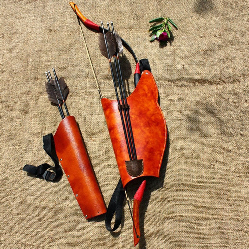 Picture of Traditional Bow Arrow Quiver Shooting Hunting Archery Leather Quiver for Arrows Holder Compound Recurve Arrow Case Bag Accessory