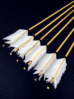 Traditional Wooden Hunting Archery Arrow For Recurve Longbow Bow Shoting with White Turkey Feathers Hunger Games Medieval Archery. ürün görseli