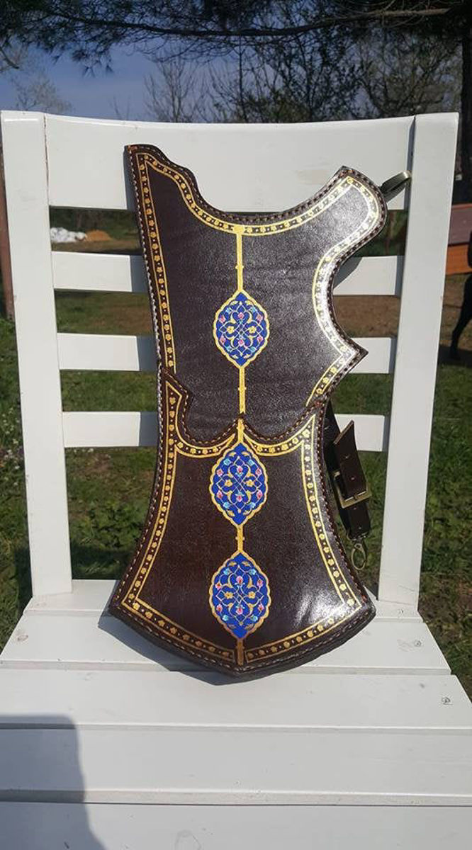 Picture of Turkish Quiver with Traditional Motifs Ottoman Horseback Archery Leather Hip Quiver Tirkes With Steel Knife Knight Belt Quiver, Medieval