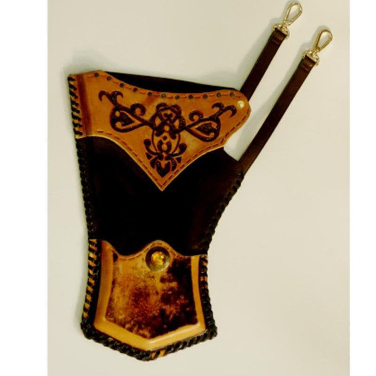 Picture of Turkish Traditional Ottoman Horseback Archery Leather Hip Quiver Tirkes Knight Belt Quiver, Medieval Fantasy