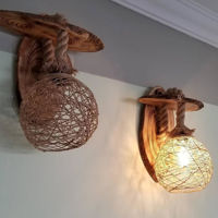 Picture of Wooden Natural Sconce Wall Lamp Light Wood Night Lamp For Bedroom Wall
