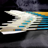 Wooden Archery Arrow Personalized Barelled Arrow For Recurve Longbow Bow Medieval Traditional Ottoman Hunting  Shoot with White Turkey Feather. ürün görseli