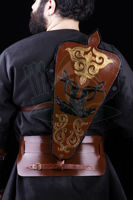 Picture of Javanese Quiver Archery Back Quiver Traditional Leather Horseback Archery Hip Quiver Belt Quiver with Traditional Motif