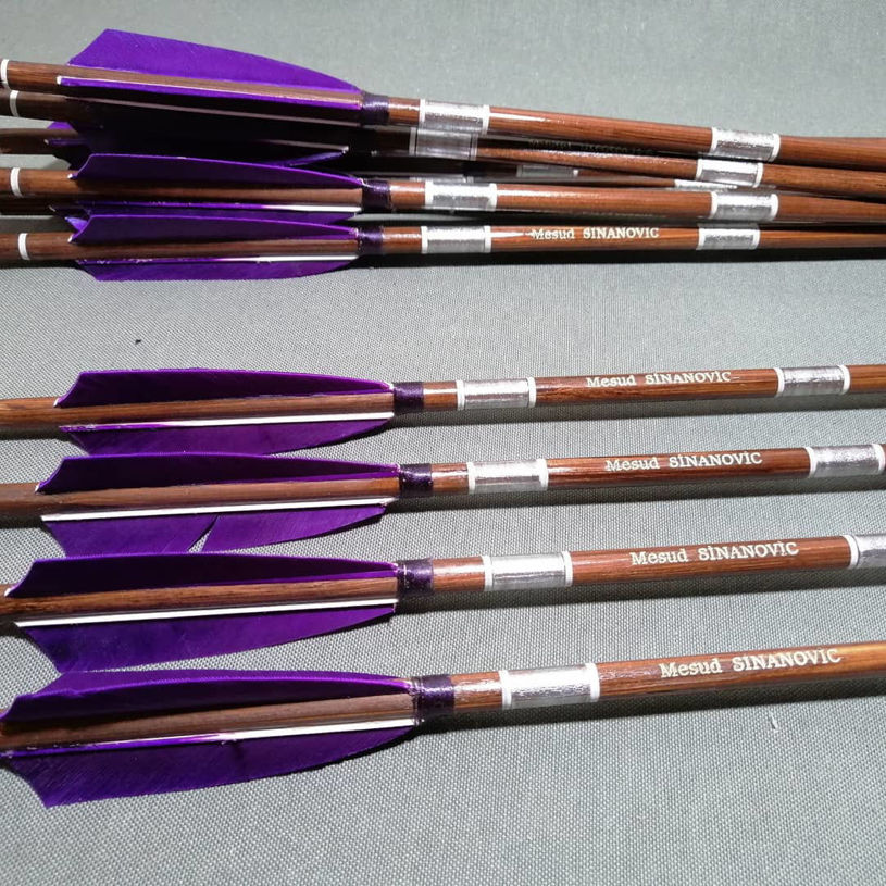 Picture of Wooden Barrelled Crested Arrows Archery Personalized Arrow For Recurve Bow Longbow Medieval Traditional Ottoman Hunting Shoot with Purple Turkey Feather