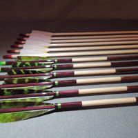 Picture of Wooden Barrelled Crested Arrows Archery Personalized Arrow For Recurve Bow Longbow Medieval Traditional Ottoman Hunting Shoot with Green Black Turkey Feather