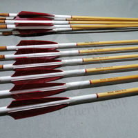 Picture of Wooden Barrelled Crested Arrows Archery Personalized Arrow For Recurve Bow Longbow Medieval Traditional Ottoman Hunting Shoot with Red Turkey Feather