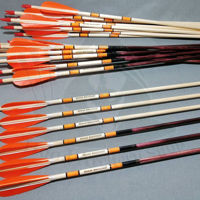 Wooden Barrelled Crested Arrows Archery Personalized Arrow For Recurve Bow Longbow Medieval Traditional Ottoman Hunting Shoot with Orange Turkey Feather. ürün görseli