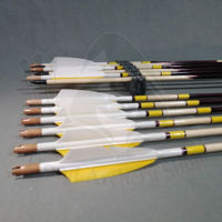 Picture of Wooden Barrelled Crested Arrows Archery Personalized Arrow For Recurve Bow Longbow Medieval Traditional Ottoman Hunting Shoot with White Yellow Turkey Feather