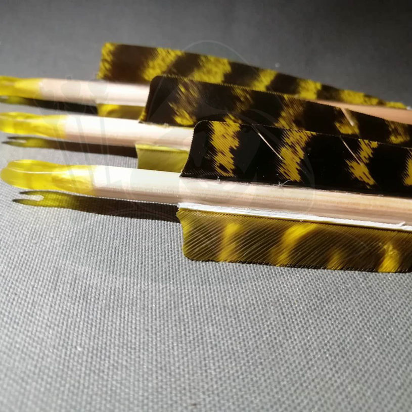 Picture of Wooden Barrelled Crested Arrows Archery Personalized Arrow For Recurve Bow Longbow Medieval Traditional Ottoman Hunting Shoot with Yellow Black Turkey Feather