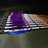 Picture of Wooden Barrelled Crested Arrows Archery Personalized Arrow For Recurve Bow Longbow Medieval Traditional Ottoman Hunting Shoot with Purple Blue Turkey Feather