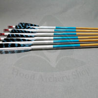 Picture of Wooden Barrelled Crested Arrows Archery Personalized Arrow For Recurve Bow Longbow Medieval Traditional Ottoman Hunting Shoot with Blue Natural Turkey Feather