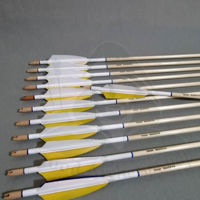 Wooden Barrelled Crested Arrows Archery Personalized Arrow For Recurve Bow Longbow Medieval Traditional Ottoman Hunting Shoot with Yellow White Turkey Feather. ürün görseli