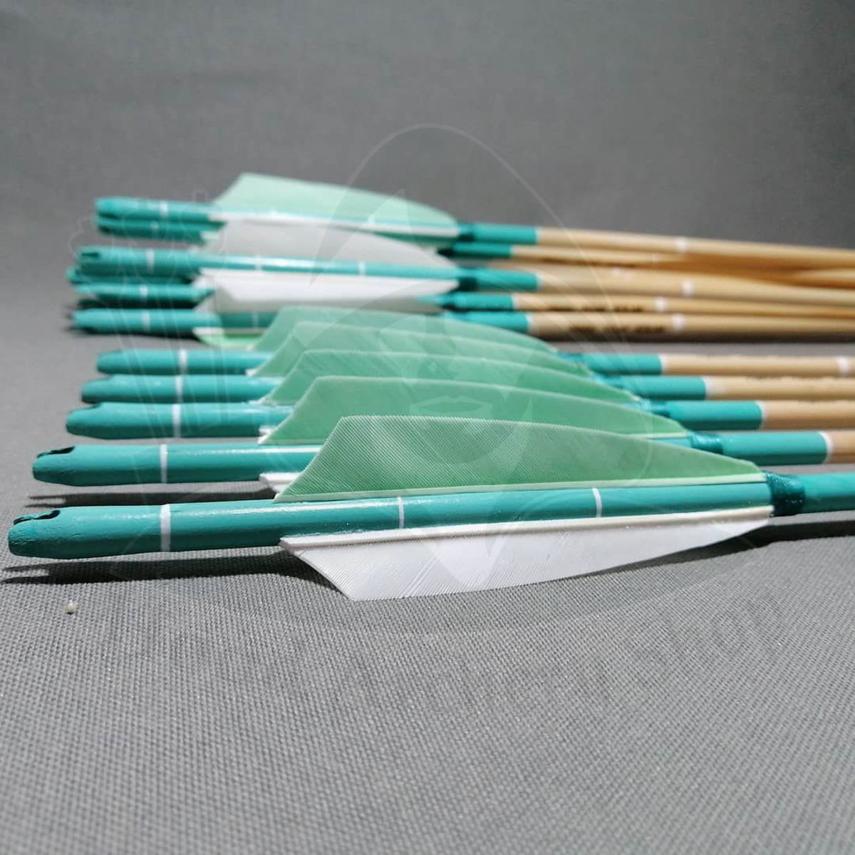 Wooden Barrelled Crested Arrows Archery Personalized Arrow For Recurve Bow Longbow Medieval Traditional Ottoman Hunting Shoot with Turquoise Turkey Feather. ürün görseli
