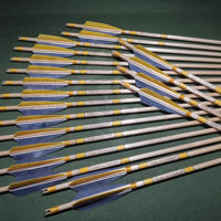Picture of Wooden Barrelled Crested Arrows Archery Personalized Arrow For Recurve Bow Longbow Medieval Traditional Ottoman Hunting Shoot with Yellow Gray Turkey Feather