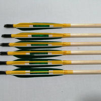 Picture of Wooden Barrelled Archery Personalized Arrow For Recurve Longbow Bow Medieval Traditional Ottoman Hunting  Shoot with Green Yellow Natural Turkey Feather